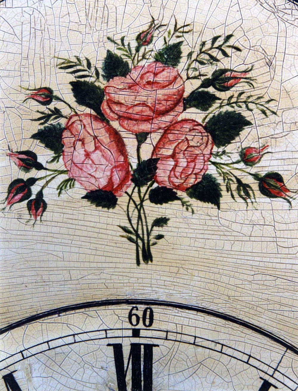 Detail of a hand-painted Kroeger Clock  made ca. 1889. Background photo: A Kroeger Clock made in 1910 shows a decal applied as decoration.