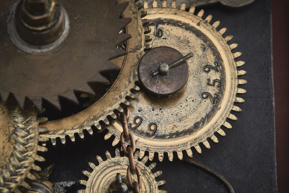 Interior photographs of the 'Cadillac Clock' likened to steam punk by a museum visitor.