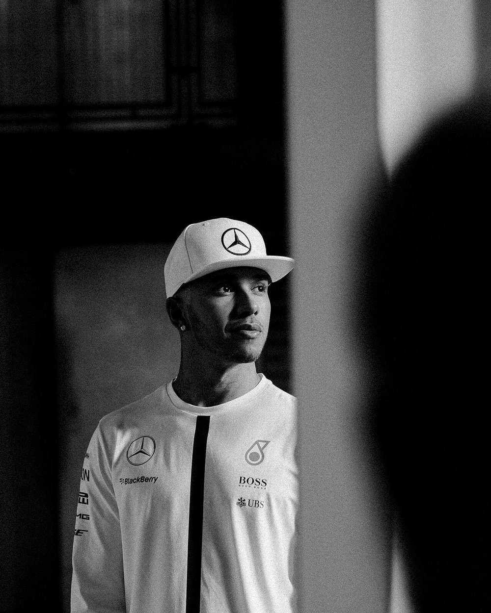 portrait photographer Tim Cole shoots Lewis Hamilton on set