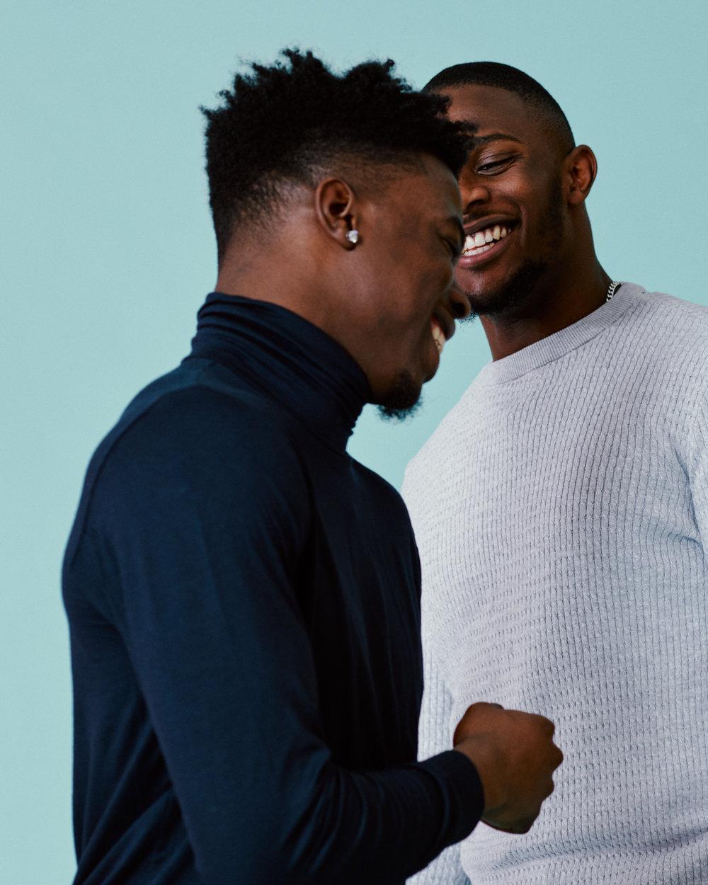 london portrait photographer Tim Cole shoots two men laughing