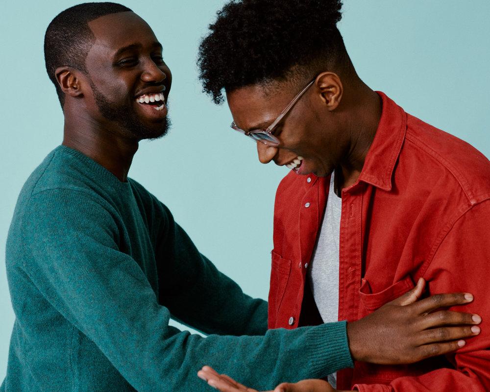 portrait photographer Tim Cole shoots two men embracing