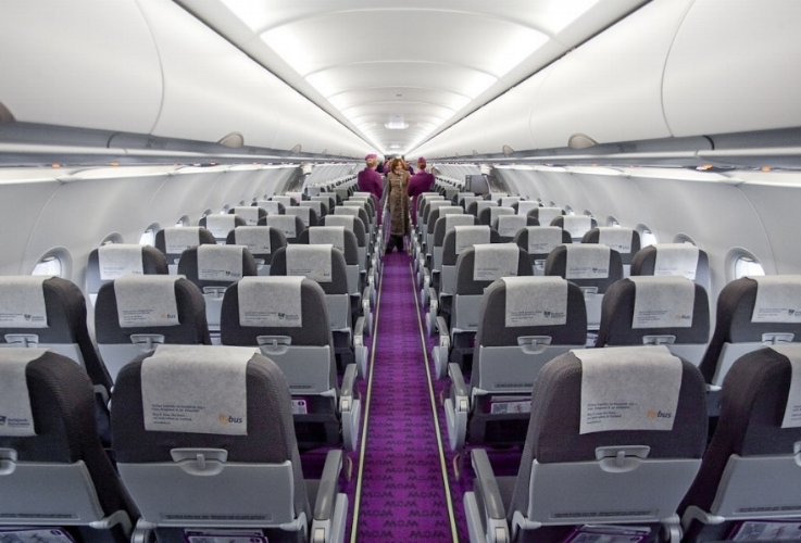 Un avion WOW AIR (configuration monocouloir 3 x 3 )