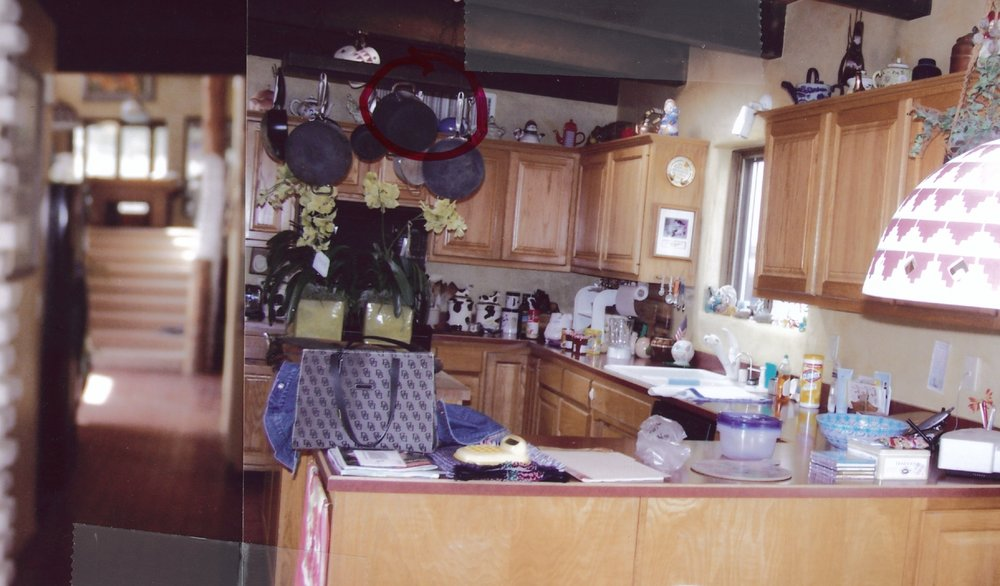 Before- existing kitchen layout was too SEPARATED and lacking storage area. the clashing dark beams detract from the potential beauty of the kitchen.