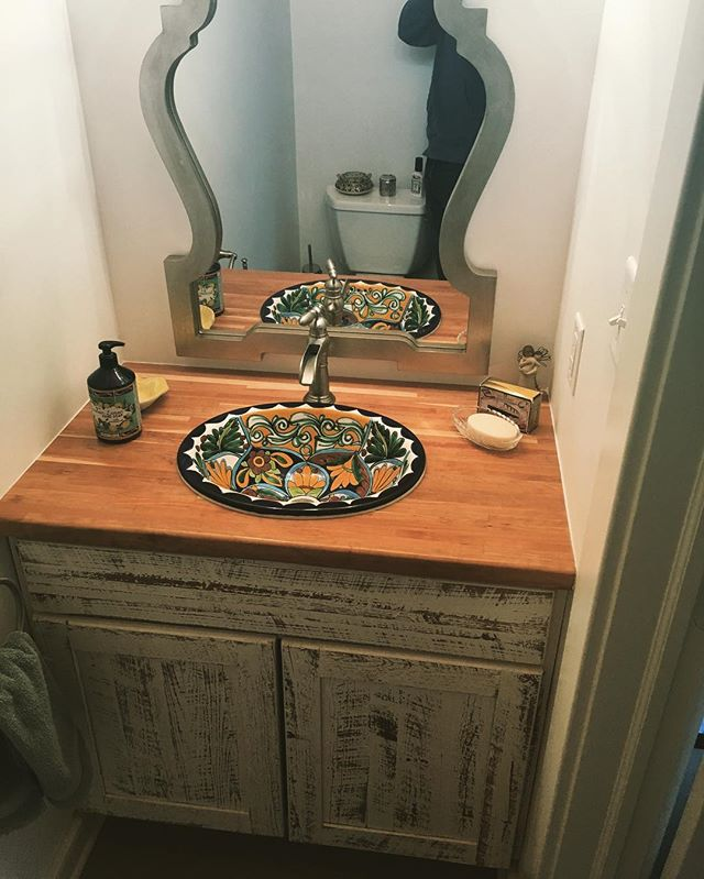 Here's a custom made Vanity for a project we did recently. We saved a few studs when we ripped out a wall and used the old lumber and added a sink the home owner provided and a left over piece of maple butcher block. Came out sweet!