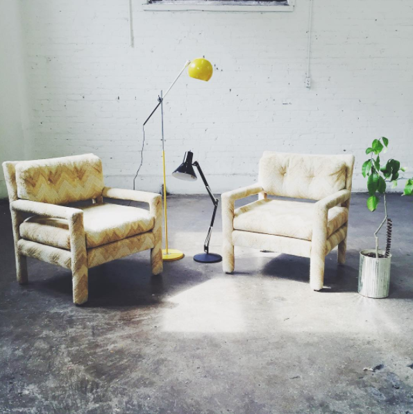 photo area: vintage chairs & lamps from South Social & Home's materials library