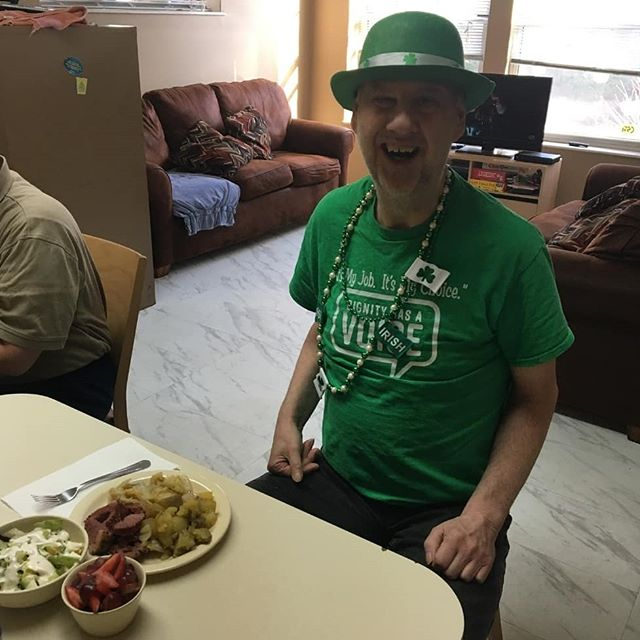 Residents at Russell House enjoyed corn beef and cabbage for St. Patrick's Day.