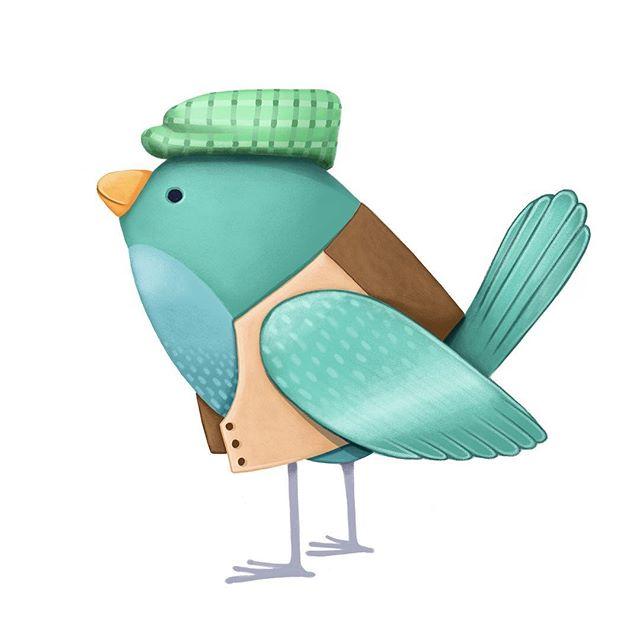 Another bird with clothing! . . . . . #illustration #illustrator #kidlitart #characterdesign #picturebookart #painting #drawing #bookstagram #illustrationartists #surfacedesign #animalart #cuteanimals #animaldrawing #birds #birdart #freelanceartist #kansascity #bethsnider #bethsniderartist #picturebookillustration #procreate #applepencilart