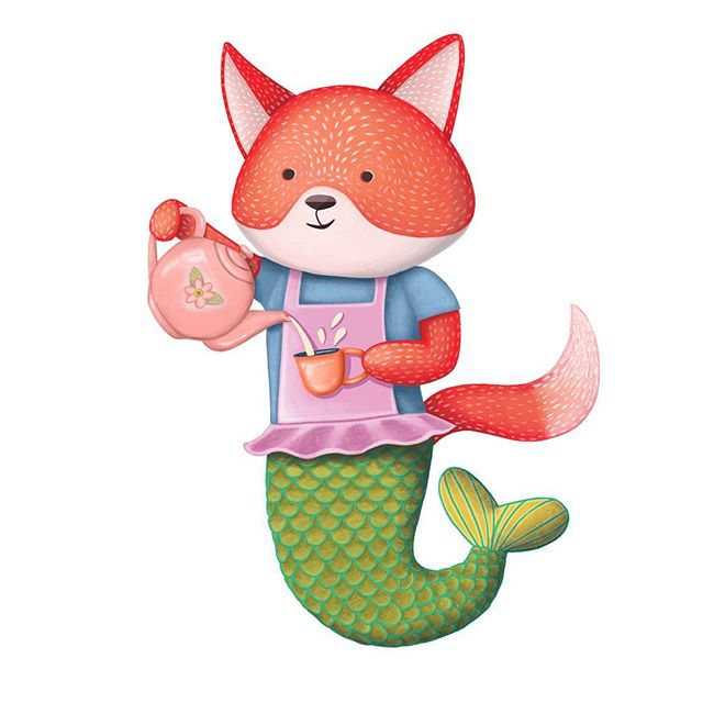 My fox mermaid is ready for some afternoon tea and so am I... right after my nap! . . . . . #illustration #illustrator #illustrationartists #illustratorsoninstagram #painting #kcartist #drawing #sketch #sketchbook #foxes #cuteanimals #animalart #animalfanatics #animaldrawings #foxart #foxartwork #mermaid #mermaidart #mermaiddrawing #teaparty #teatime #teapot #bethsniderart