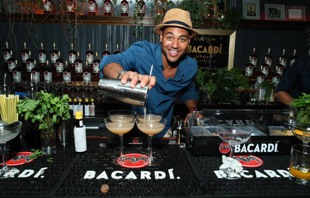 French Scotty Marshall pours drinks at BACARDI Rum Room Launch on May 10 in NYC.jpg