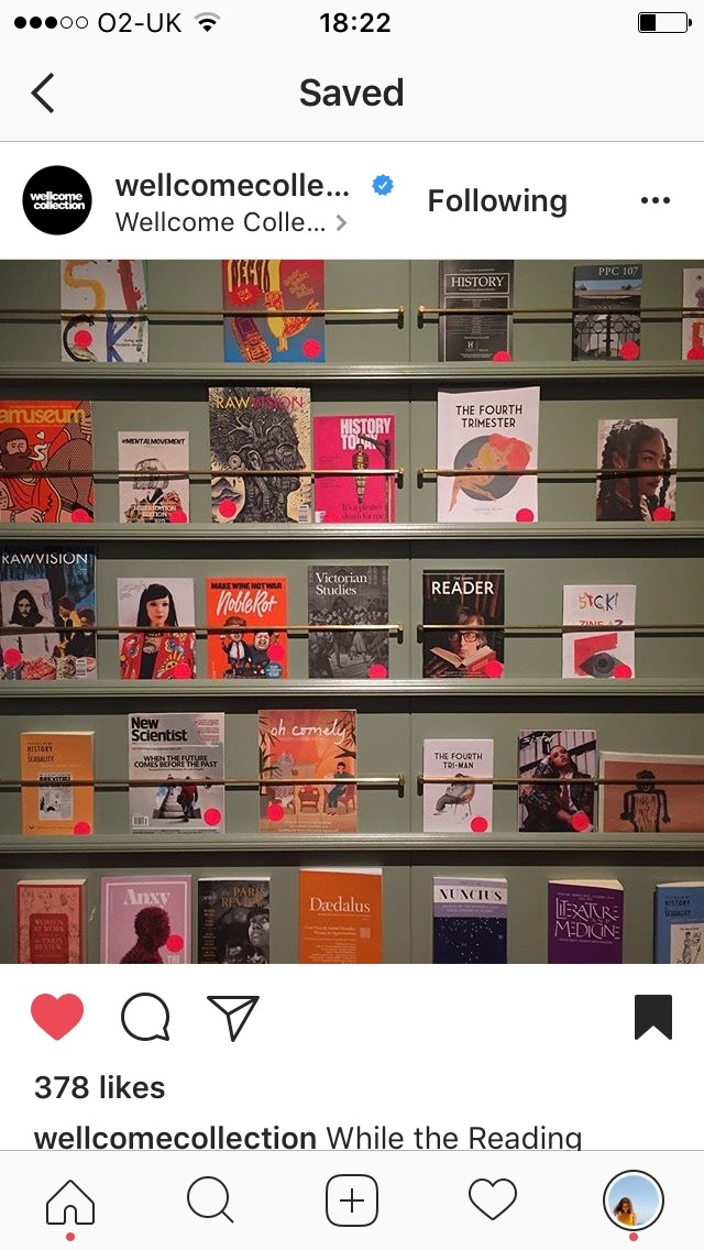 Super excited to see the zine being part of the collection of journals and zines at the Wellcome Collection