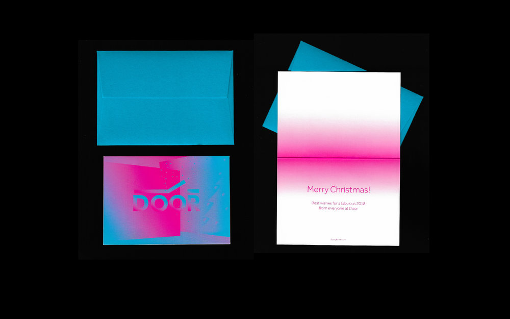 The palette is an update from Door's existing one - which uses a Georgian colour combined with a neon/bright colour - a blend of traditional and new.  The Door logo was previously designed and given to me - I did not design the logo myself.  Here are the business cards and Christmas 2017 card I designed using the visuals.