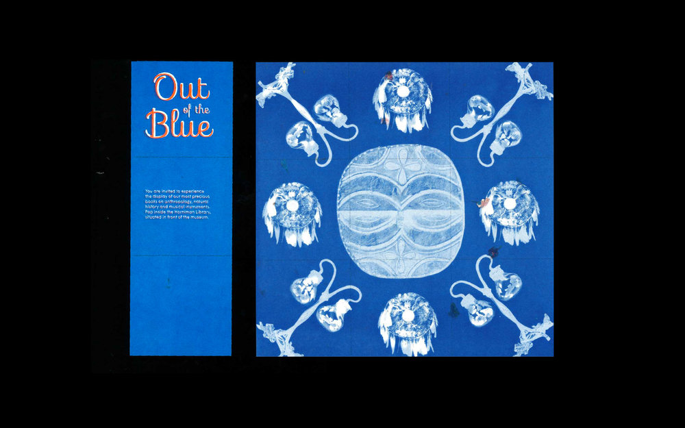 The leaflets are perforated into a nine square grid that acts as folding points. The visitor can pick these up from anywhere in the museum and it is used as an invitation to the Library's event.  Once there, they can tear up the leaflet and participate in building a grid-based mural to create a big cyanotype picture, which they are invited to share.  This format could have an easy transition into social media platforms such as instagram, creating a campaign that can reach and engage many outside existing museum visitors.