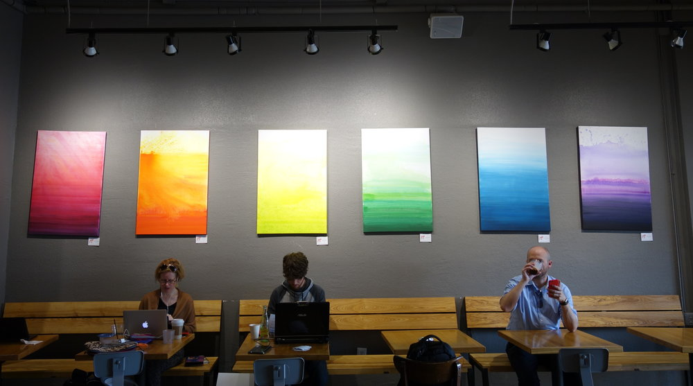 The PRISM series on display at Boomtown Coffee, The Heights, Houston, TX