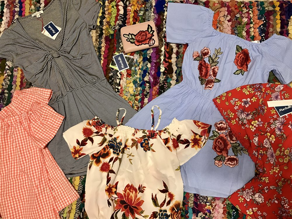THE HAUL---FROM LEFT TO RIGHT---  Orange Gingham off-the-shoulder shirt $16.99, Knotted & Striped Romper $14.99, Rose Appliqué Wallet $7.99, White Floral off-the-shoulder top $12.99, Seersucker-striped Appliqué Romper $14.99, and lastly the Red Floral Cinched top $12.99.