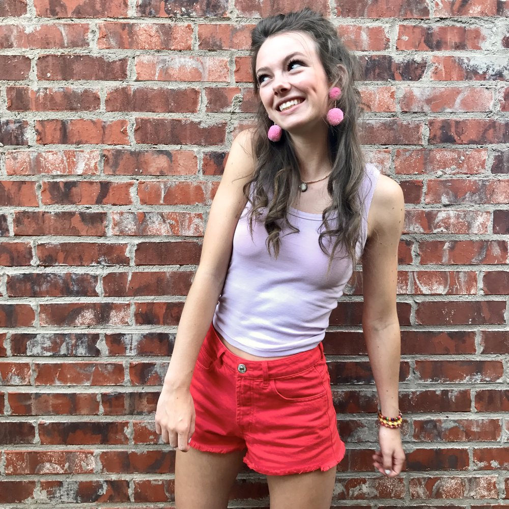 LAVENDER CROP TOP  +  CHERRY RED SHORTS , a combo that I usually wouldn't put together, but I love how it turned out! plus-- how cute are the  pom pom earrings