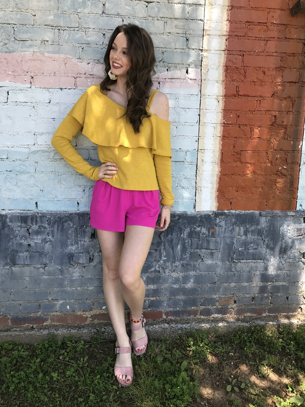 YELLOW + HOT PINK, while this outfit isn't too pastel, I thought the bright color combo went well with the other outfits. Yellow ruffle top {from  Anthropologie sale  rack!} & hot pink shorts { Topshop } & pale pink block heels { Matisse }
