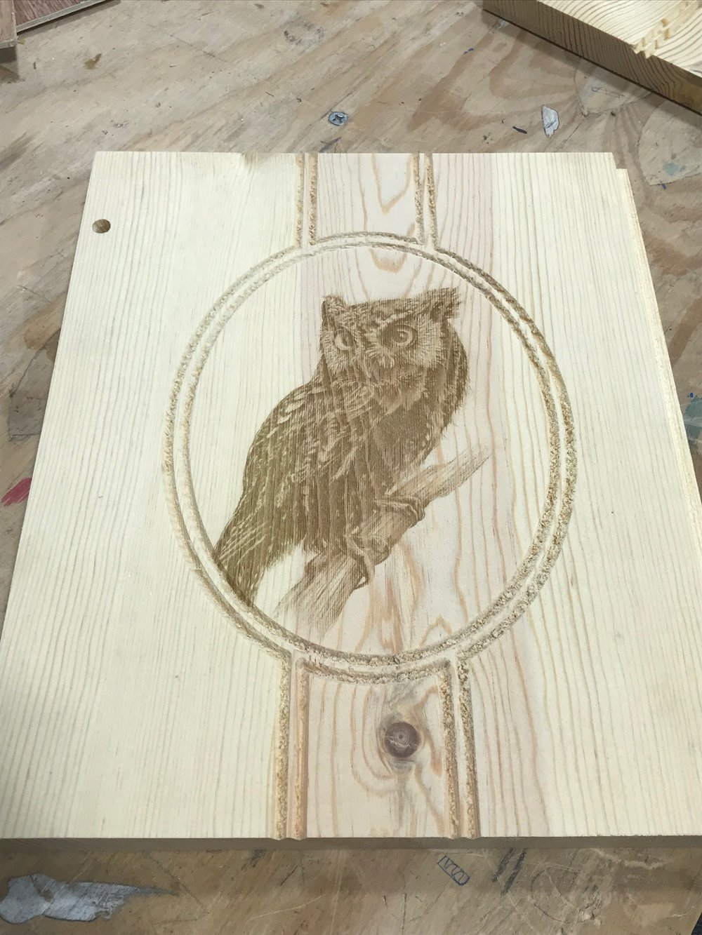 Students laser engraved images of the owl on the side of the birdhouse to add a uniqueness to the nesting box.
