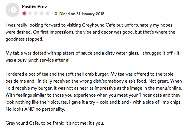 I'm actually quite pleased with this review, you know. (Bar the phrasing of the second paragraph).    Perhaps this is my new calling - witty and snarky reviews of restaurants!    Saying that, I really didn't enjoy my meal that it was painful to pay the bill. Which some how came to, if I recall correctly,something like £22... for a burger and a pot of tea.   Oh and the charge for the poor service.    I was so keen to leave, I forgot to take it off!    After paying, I still had 15 mins to spare before I went back to the office! That's how you really know it wasn't great.