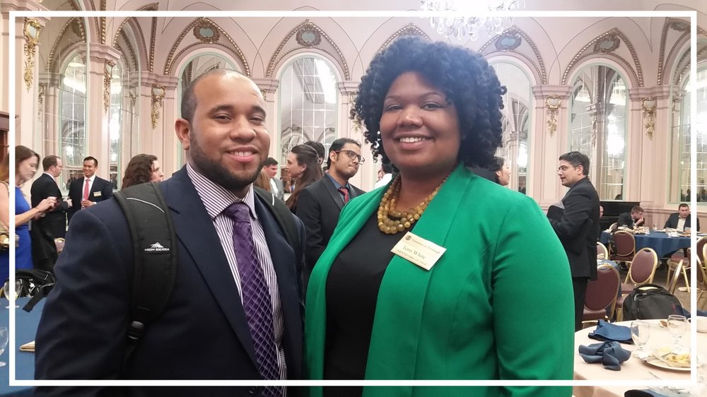 Jason Evans from Texas and Terri White from Pittsburgh at the 2017 Welcome Week for Incoming MBA Students. They are PBAN Scholars.