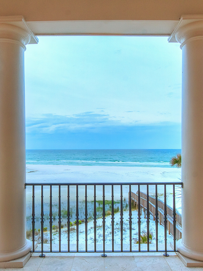 View of the ocean and private boardwalk from the second floor balcony