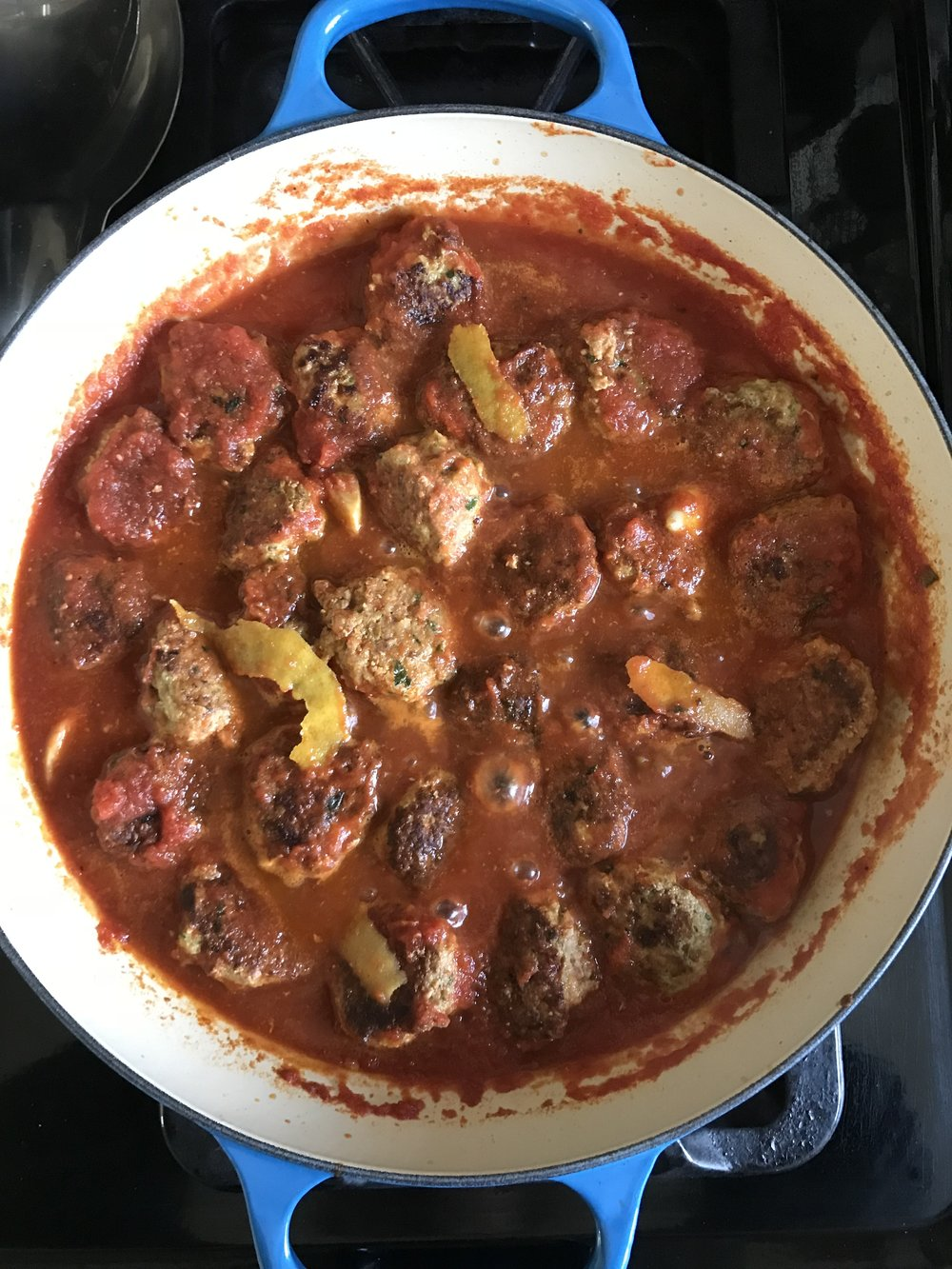 HERE IS WHAT YOU NEED:  - FOR MEATBALLS:2 pounds ground turkey1 teaspoon turmeric1 1/2 teaspoons ground coriander1/2 teaspoon ground aniseed1 teaspoon aleppo pepper (or to taste)1 teaspoon ground cinnamon1/2 teaspoon sumac1 teaspoon smoked sweet paprika1 1/2 teaspoon salt1 1/2 teaspoon black pepper3 garlic cloves (grated on microplane)1 cup loosely packed parsley, chopped finely3 scallions, chopped finely (green and white parts)2 eggs2 slices of day old bread, cut into small cubes1/2 cup of milk (to soak the bread in)FOR SAUCE:2 tablespoons olive oil2 garlic cloves, crushed1 teaspoon smoked paprika1 teaspoon aleppo pepper (or to taste)1 small onion, diced small2 cups crushed tomatoes1 to 2 cups chicken stock peel from 1 lemon (peeled with a peeler)salt pepperFOR YOGURT SAUCE:1/2 cup plain yogurt1/2 cup sour cream1 tablespoon lemon juice1 teaspoon sumacsmall garlic clove, minced finely or grated on microplane saltpepper