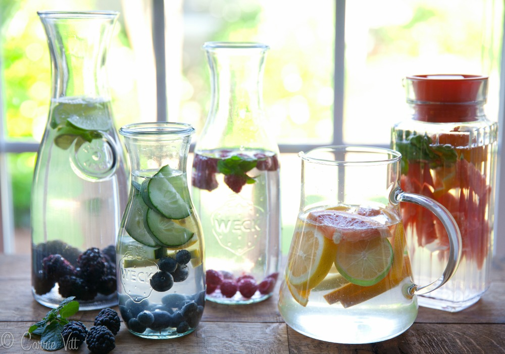 Drink your H20 - Water is an essential part of a healthy lifestyle and fitness. You should be drinking at least have your weight in oz. everyday (bodyweight / 2 = # of oz.) But i know that it can be hard to stick with just water, so here are some recipes to add flavor to your H20:Cool Breeze:4 slices of cucumber6 slices of lemonmint leaves Flavor of the Islands:12 cubes of pineapple1 small sliced red delicious apple8 cubes of cantaloupe Taste of Summer:10 sliced strawberries4 orange slices12 blueberries