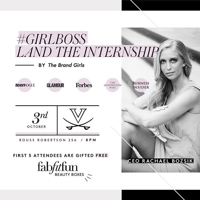 Join us for our digital event tonight at 8pm in RRH 256 with Rachel Bozsik, the CEO of The Brand Girls. She will be talking about tips and tricks for networking, applying, and landing an internship. We also will be giving out some free goodies, like Vineyard Vines, cosmetics, and more!