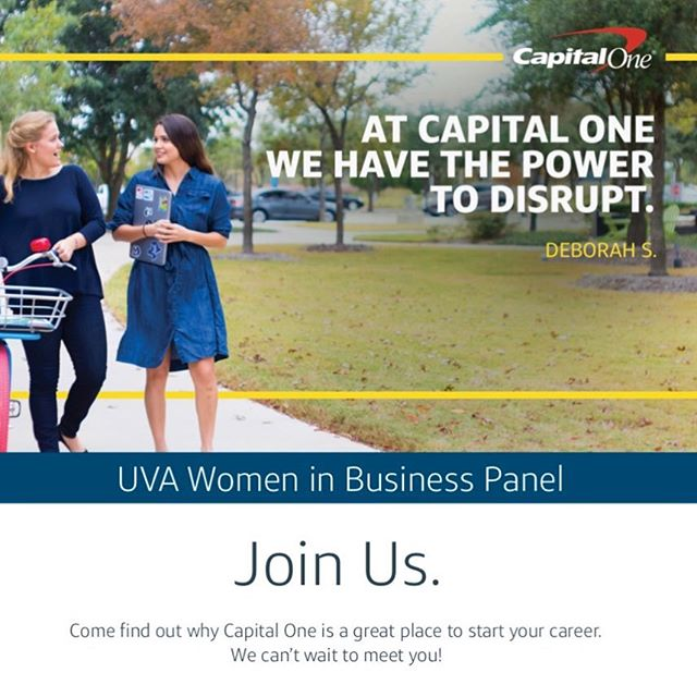 Join us for our last Corporate event of the semester. Capital One will be hosting a Women in Business Panel TOMORROW NIGHT, November 15th from 6pm-8pm in RRH 225. This event most likely will not last the full 2 hours. Food provided!
