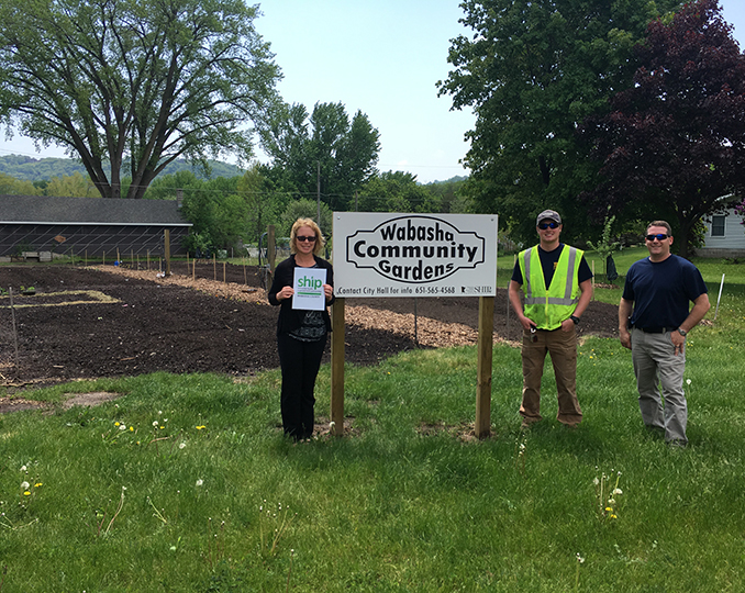Wabasha County coordinator Tina Moen (left) with Wabasha city employees Tony Johnson and Brandon Huth.