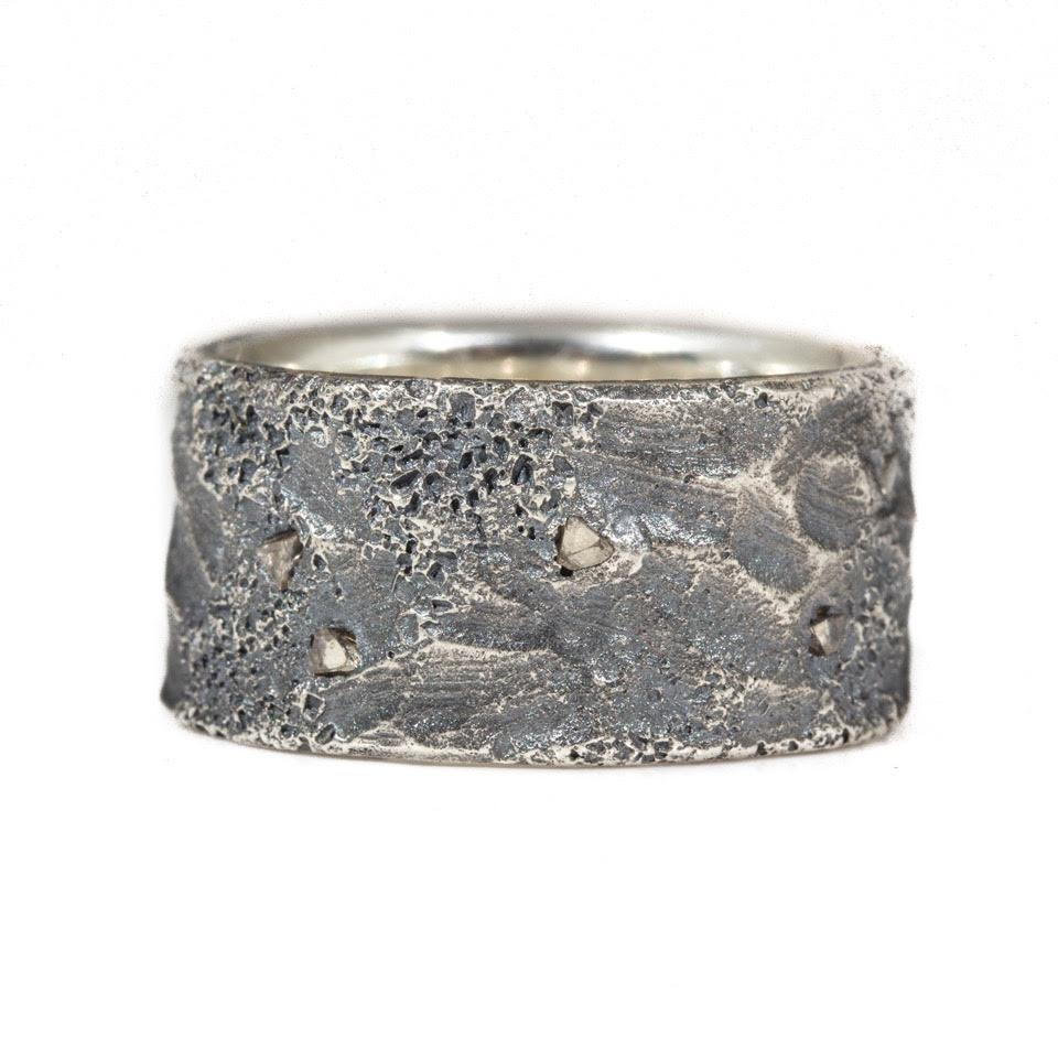April Higashi, Topography Ring ( Men's), 2015, silver, mackel diamonds, 10mm, photo: Shibumi Gallery