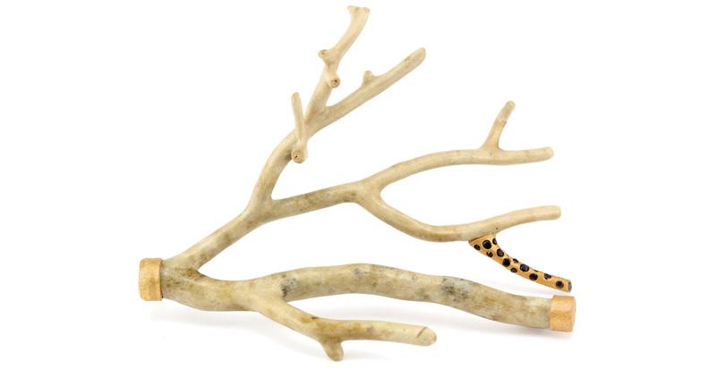 'Shiro' Brooch: fossilized coral, black diamonds, 24 & 18k gold