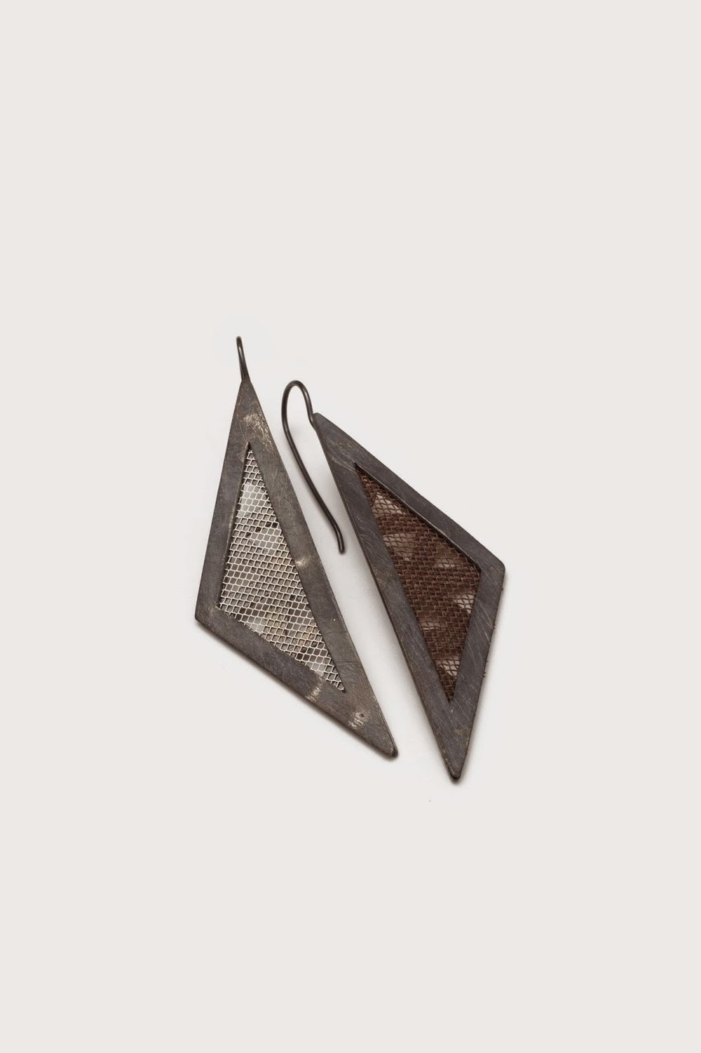 Mesh Isosoles Triangle Earrings; mesh and sterling silver, copper. photo by tiny jeweler photography