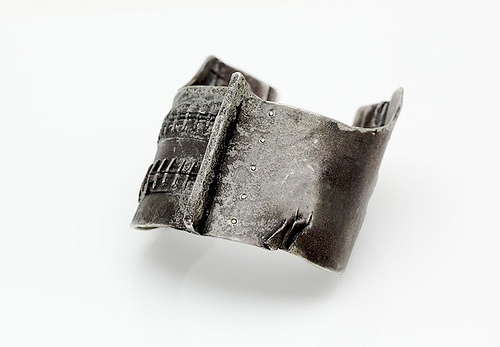 "Short Stitch Cuff,  2011, oxidized silver, black diamonds, 2.5""x 3""x 2"""