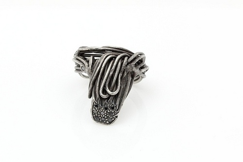 "Wire Tie Ring , 2011, oxidized silver, black diamonds, 1"" x 1"" x 1"""