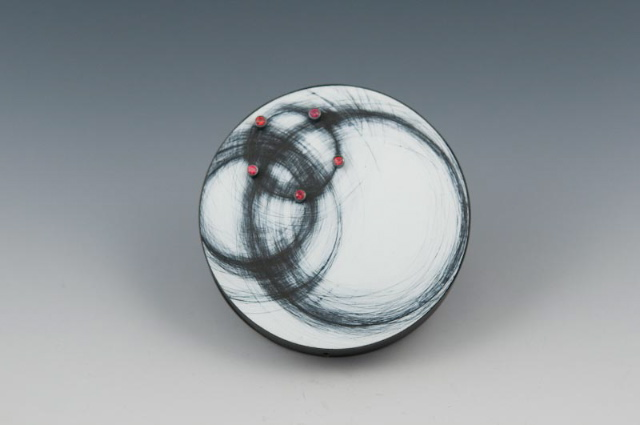 above brooch: Satellite, red sapphires, wood, paint, steel, silver