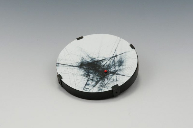 above brooch: You Are Here, wood, paint, steel