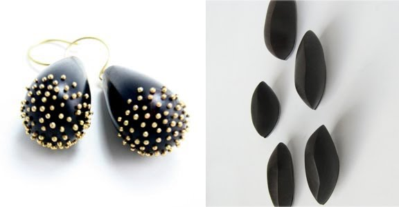 above: African Blackwood Earrings with Gold Dots, Mushroom Cluster Scatterpins