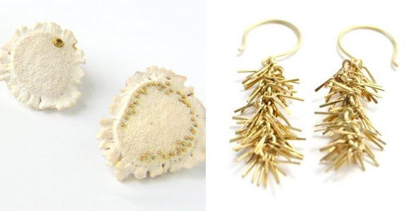 above: Antler Rossette Brooches with Cognac Diamond and Antler Rosette Brooch with                                              18ky Dots, Long Fringe Earrings, 18kyg