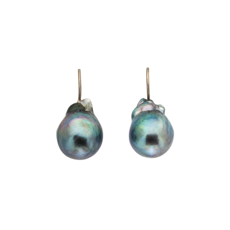 c4de822e5 Blue-Grey Baroque Tahitian Pearls on 18k Palladium White Gold Wire