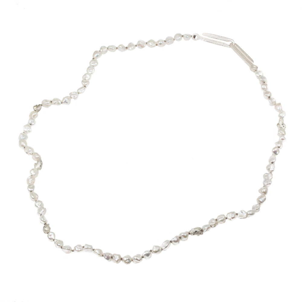 Freshwater Keshi Pearl Necklace with Gray Diamonds