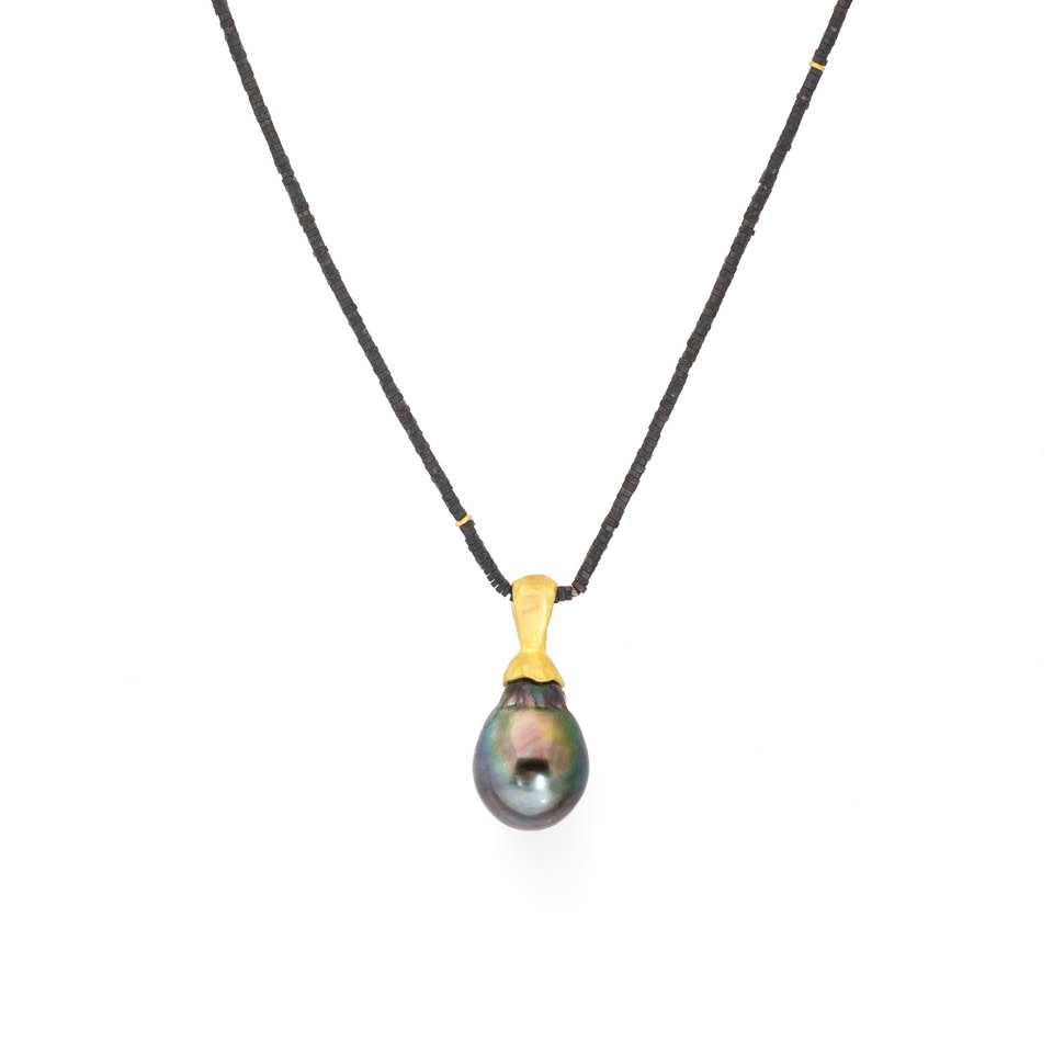 Baroque Pearl Pendant on Hematite Bead Chain with 18k Yellow Gold