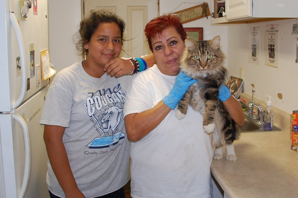 Elizabeth, Isobele and Jack, our Kittyland Mascot. They love all the cats, but Jack has a special place in their hearts