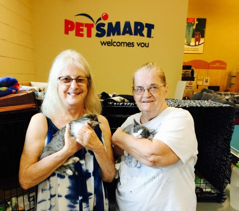 Donna and Tina holding two newly adopted kittens at the Palm Springs PetSmart.