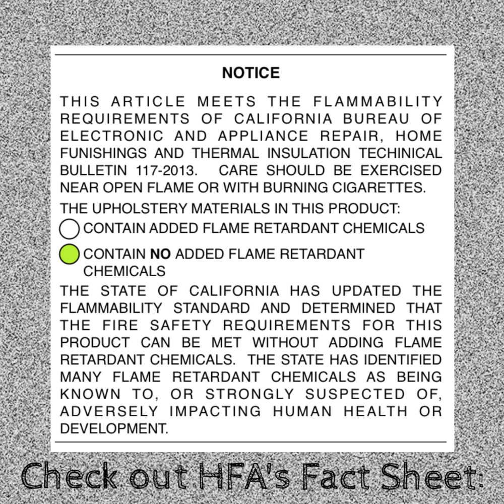"WHAT IS TB117-2013? - ""Consumers: Although the new standard can be met without flame retardants, it does NOT ban their use.  Consumers can look for a TB117-2013 tag on furniture, and verify with retailers that products do not contain flame retardants."" (Home Furnishings Association, myhfa.org)"