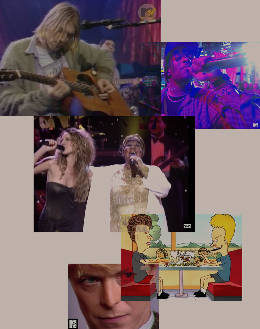 """MTV's and VH1's priceless content through the ages, from top to bottom:  MTV Unplugged  with Nirvana in 1993, Lil Uzi Vert performs """"XO Tour Llif3"""" on  TRL  in 2017, Aretha Franklin and Mariah Carey perform """"Chain of Fools"""" at  VH1 Divas  in 1998, """"Burger Kings!"""" with MTV's  Beavis and Butthead  from 2012 and David Bowie criticizes MTV for not playing videos by black artists,  MTV News  1983."""