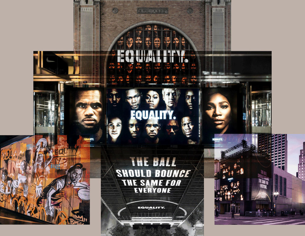 Collage of Jason Murphy's  EQUALITY  campaign for Nike.