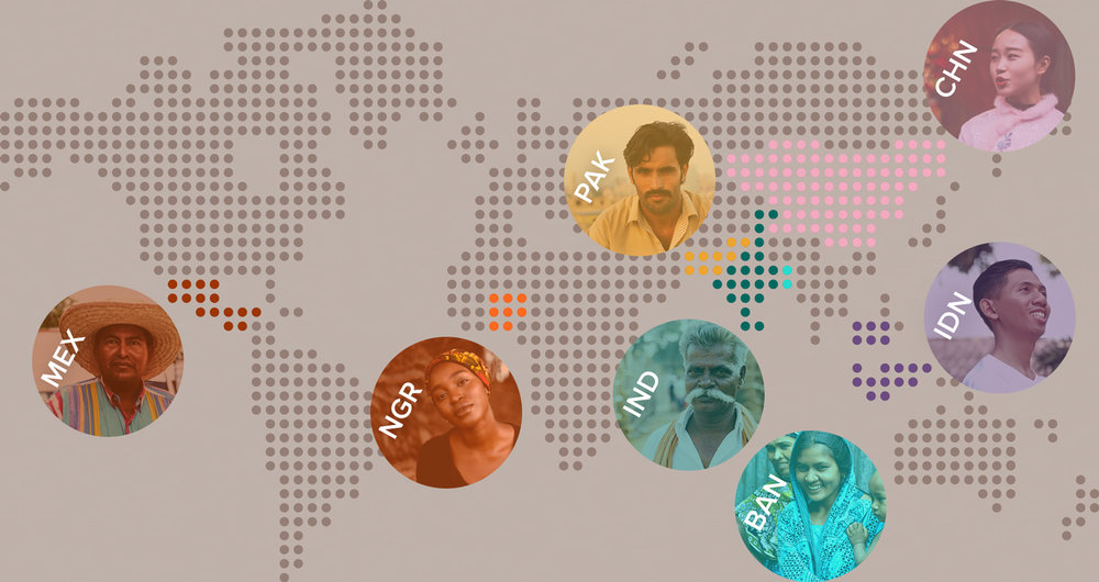 Unbanked populations in Mexico, Nigeria, Pakistan, India, Bangladesh, Indonesia and China.