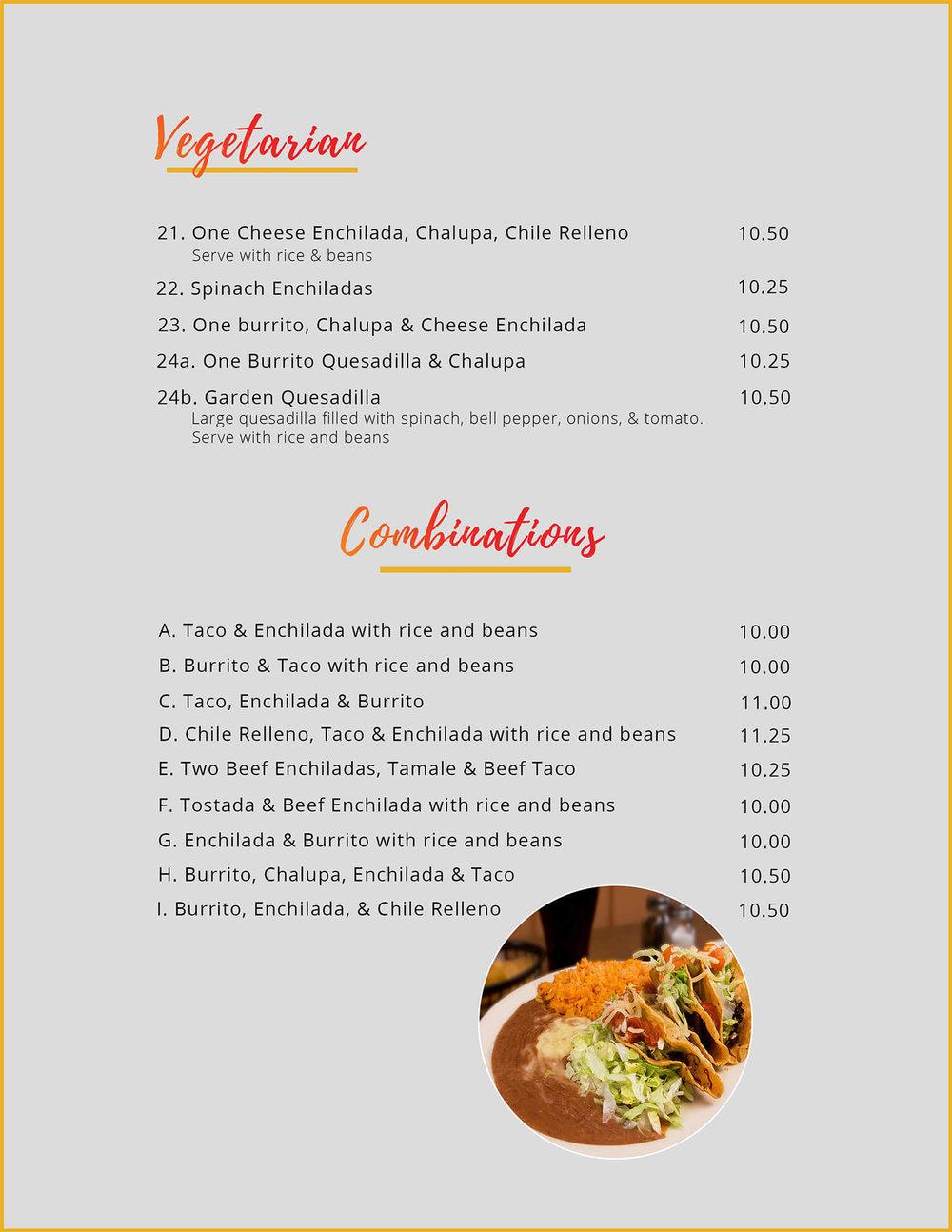vegetarian combinations