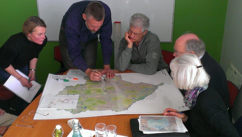 Goldfields planning meeting 2012; From left, Sophie Bickford CVB, Joern van Veen Bush Heritage, John Boadle Karra Karra CMN, Phil Dyson NCCMA and Judy Crocker Mid Loddon Landcare Network.