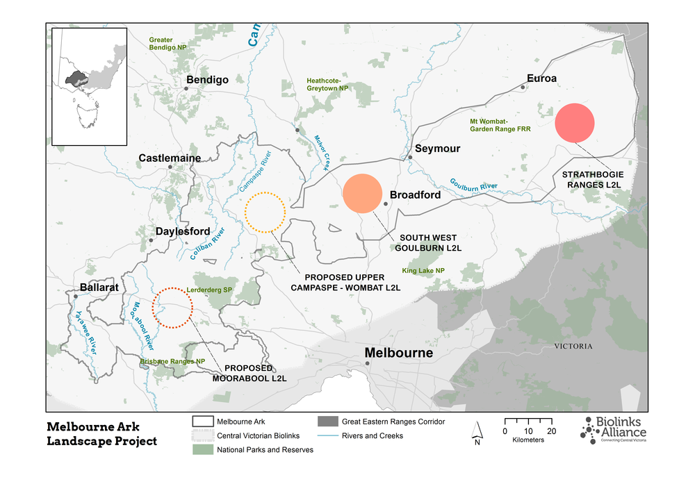 Glideways in the Melbourne Ark L2Ls - filled circles represent areas where projects are underway and dashed areas represent planned project areas, that are pending funding